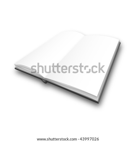 Vector opened blank book on white background