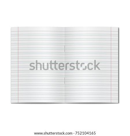 Vector opened realistic elementary school handwriting copybook with red margins, handwriting manual. Blank lined open notebook or copy-book with staples mockup or template