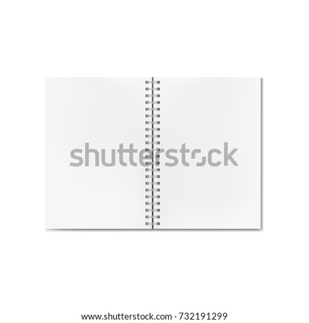 Vector opened realistic notebook with blank sheets. Clean pages textbook on ring spiral binder mock-up or template
