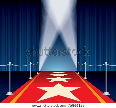 vector opened stage with blue curtain and stars on red carpet