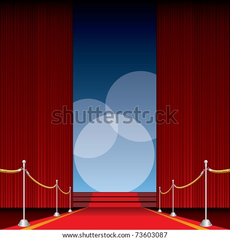 vector opened stage with red curtain and three spotlights, eps 10 file