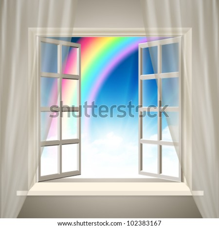 Vector Opening Window With Rainbow
