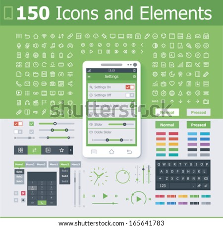 Vector operating system interface elements and icon set