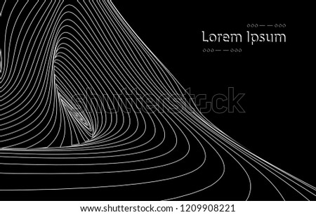 Vector optical art illusion of striped geometric black and white abstract line surface flowing like a hypnotic worm-hole tunnel. Optical illusion style design.