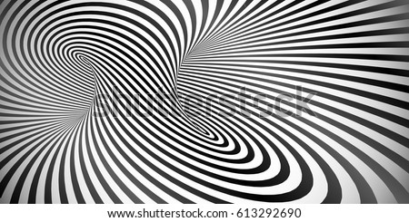 Vector optical illusion black and white twisted stripes abstract background