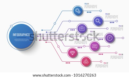 Vector 7 options infographic design, structure chart, presentation template. Editable stroke and global swatches.