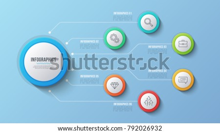Vector 6 options infographic design, structure chart, presentation template. Editable stroke and global swatches