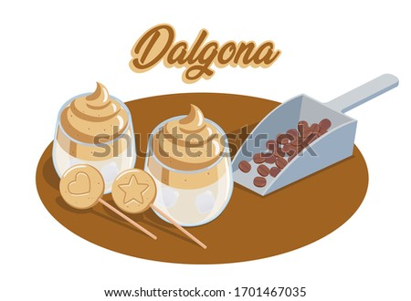 Vector or illustration of Dalgona coffee and Dalgona candy. Dalgona coffee is a popular beverage from Korea, it is made from coffee, sugar and hot water. Dalgona candy is korean sugar sponge candy.