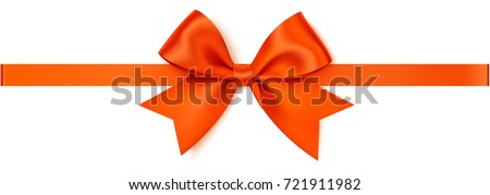 Vector orange bow with orange horizontal ribbon isolated on white background. Decorative autumn bow for your design and page decoration