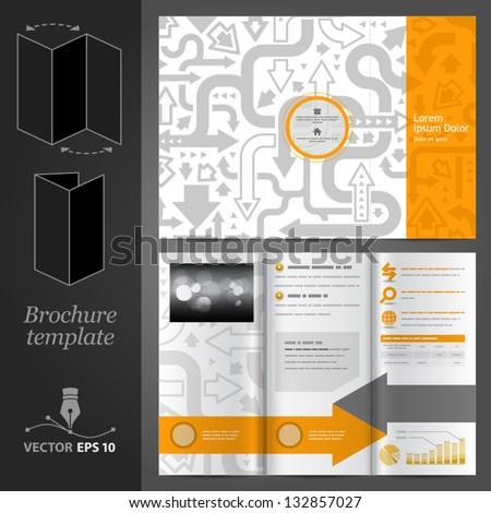 Vector orange brochure template design with gray arrows. EPS 10