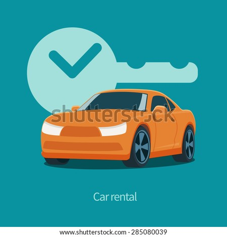 vector orange car and key with