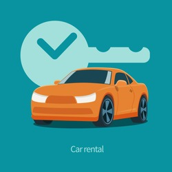 Vector orange car and key with clock illustration. Isolated on green background. Flat design style