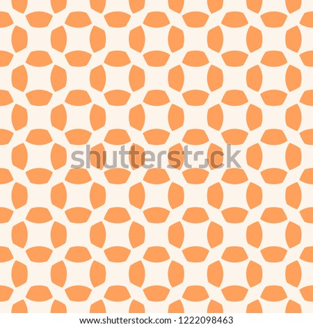 Vector orange floral texture. Abstract geometric seamless pattern with curved shapes, net, mesh, grid, lattice, repeat tiles. Simple colorful background. Minimal design for decor, wallpapers, textile