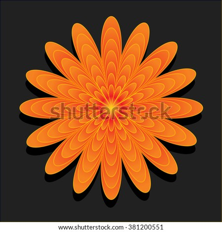 vector orange flower on black