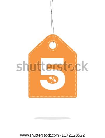 vector orange hanging price tag