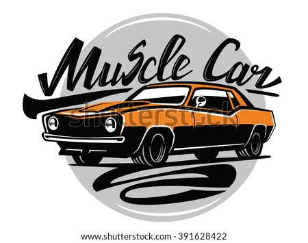 vector orange muscle car icon