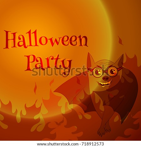 Vector orange postcard for halloween party with crazy bat in flame.