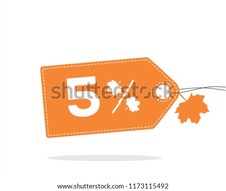 vector orange price tag label