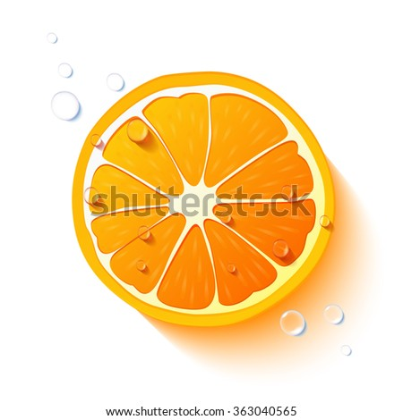 vector orange slice  drops of