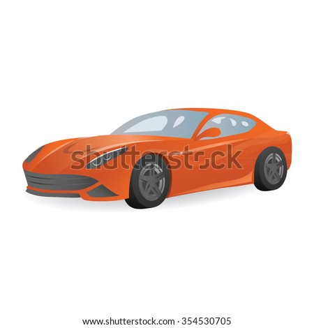 vector orange sports car