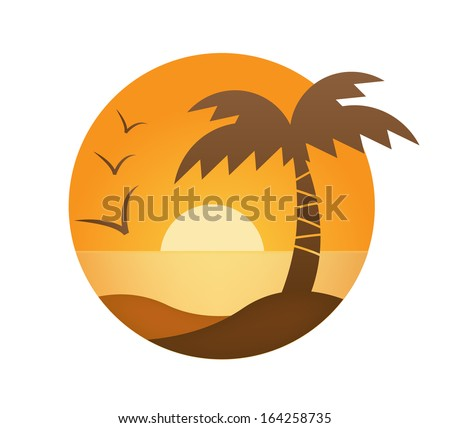 vector orange sunset  palm  sea