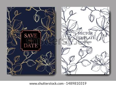 Vector Orchid floral botanical flowers. Black and white engraved ink art. Wedding background card decorative border. Thank you, rsvp, invitation elegant card illustration graphic set banner. Сток-фото ©