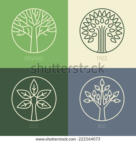 Vector organic badges outline circle monograms and logos ecology and bio design elements