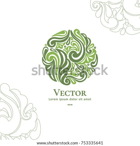 Vector organic emblem. Can be used for organic products, jewelry, beauty and fashion industry. Great for logo, invitation, flyer, menu, brochure, business card, banner, background or any desired idea. #753335641