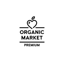 Vector organic market premium icon template. Line love logo symbol with fruit heart and green leaf sign. Farm food, raw, vegan, eco friendly label for local farmers, healthy bio goods