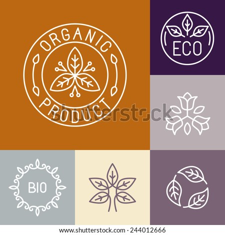 Vector organic product label in outline style - floral logos and design elements