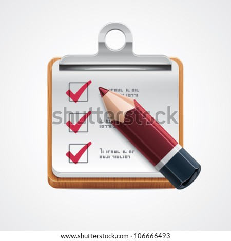 Vector organizer with pencil and check marks icon