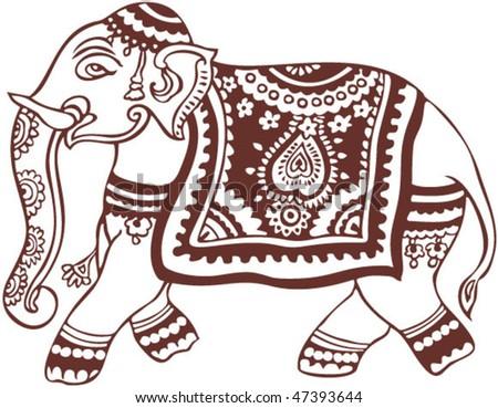 vector oriental elephant design