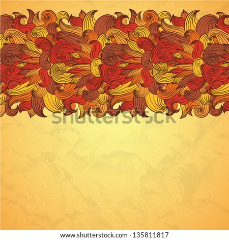 Vector oriental flower paisley border design template #135811817