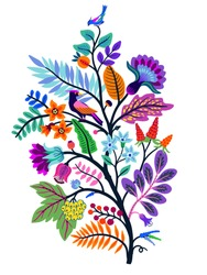 Vector Oriental motif of flowers. Original Floral design with of a woody vine with exotic flowers, tropic leaves and smaller birds. Tree of life Colorful flowers on a white background. Folk style.