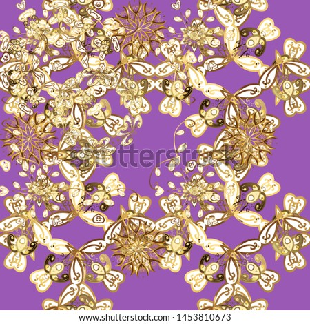 Vector oriental ornament. Oriental ornament in the style of baroque. Traditional classic golden pattern. Golden pattern on violet and brown colors with golden elements.