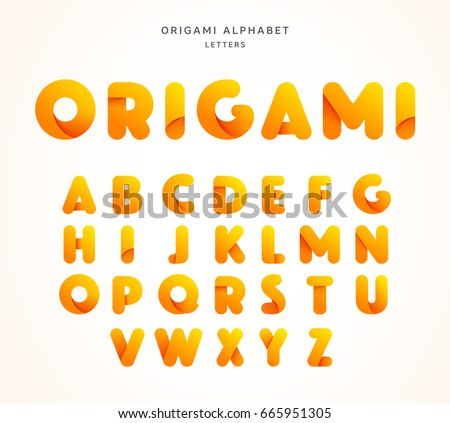 Vector Origami Alphabet Letter Collection