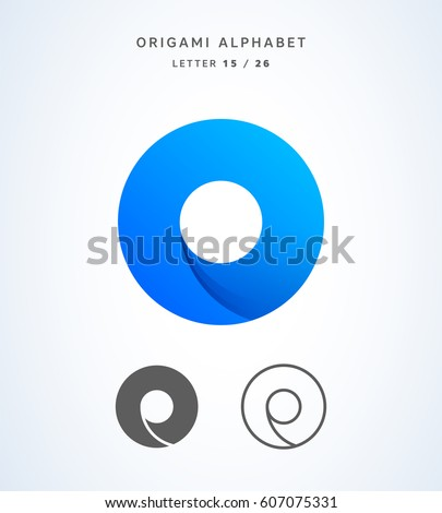 Vector origami alphabet. Letter O logo template Foto stock ©