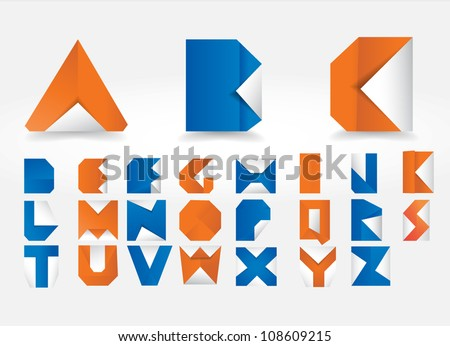 Vector Origami Alphabet Letters