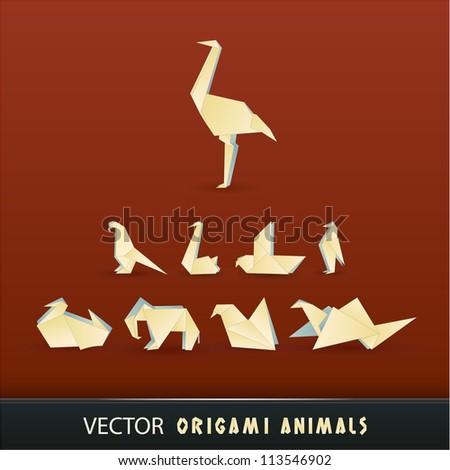 Vector origami animals