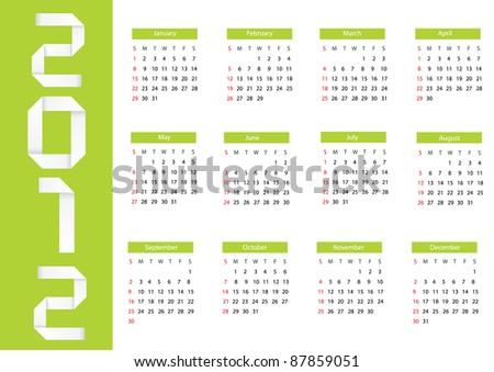 Vector origami 2012 calendar. Eps 10