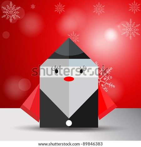 Vector origami Christmas old man