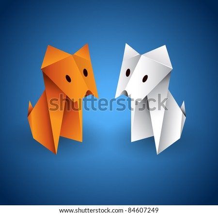 Vector origami couple dogs
