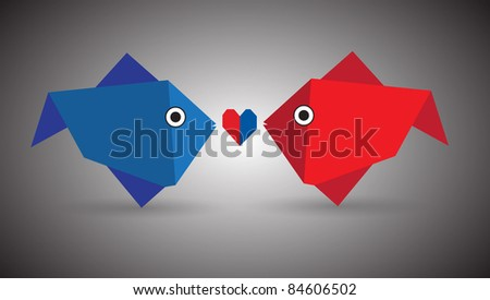Vector origami couple fishes - stock vector
