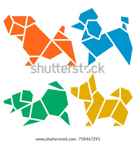 Vector Origami Dogs Icon Set. Abstract Low Poly Pet Dog Breed Sign Silhouette Isolated on White. Freehand Drawn Paper Folding Art Emblem. Template Geometric Logo Design. 2018 Chinese New Year Symbol