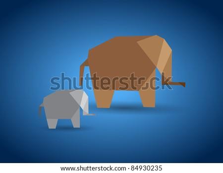 Vector origami elephant