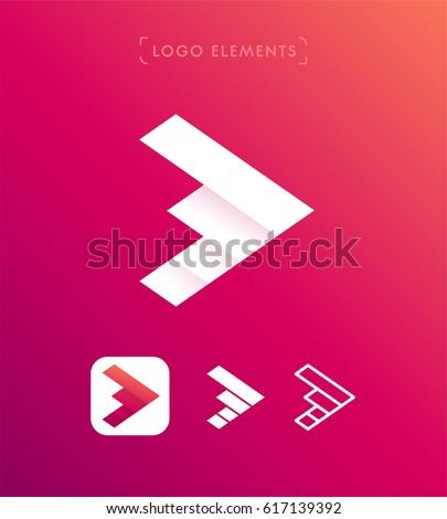 Vector origami forward arrow logo design template set. App icon
