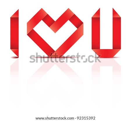 Vector origami heart and letters representing I LOVE YOU sentence