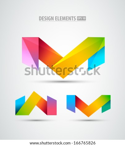 Vector origami icons. Design elements. Abstract logo icons