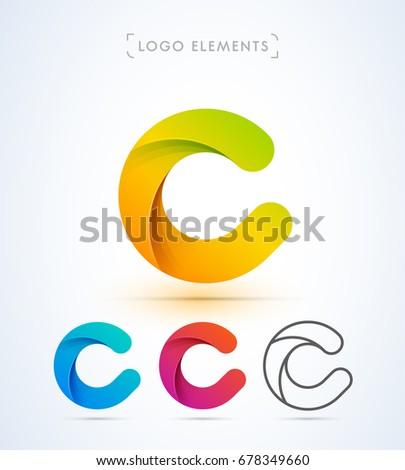 Vector origami letter C logo. Material design