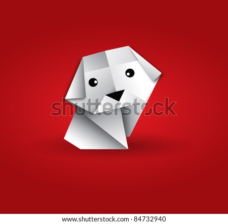 vector origami lonely dog